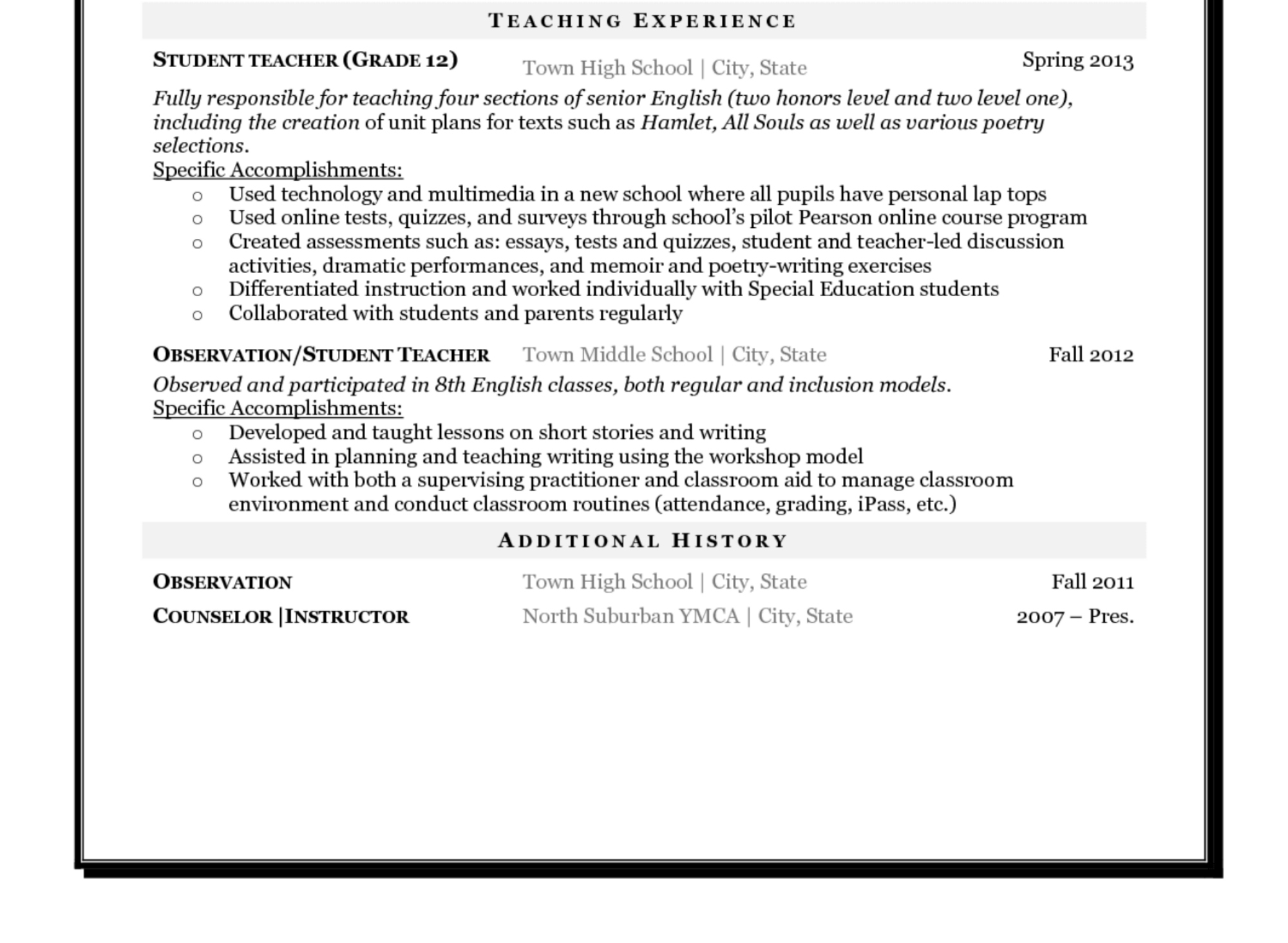 anatomy of a new teacher s resume steve p brady newteacher sample bottomthird